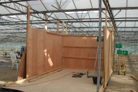 Construction of the dryer in May 2007. Built in the greenhouse, it allows us to use